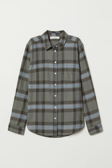 Checked shirt - Khaki green/Checked - Ladies | H&M
