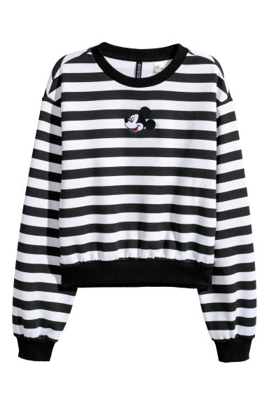 Printed sweatshirt - Black striped/Mickey Mouse -  | H&M CN
