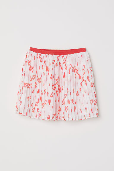 Pleated skirt - White/Hearts -  | H&M CN