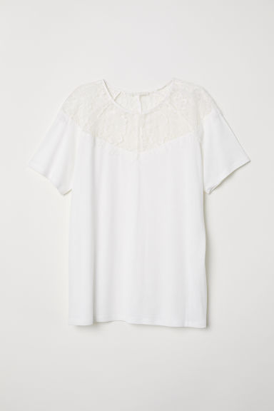 Jersey Top with Lace Yoke - White - Ladies | H&M US