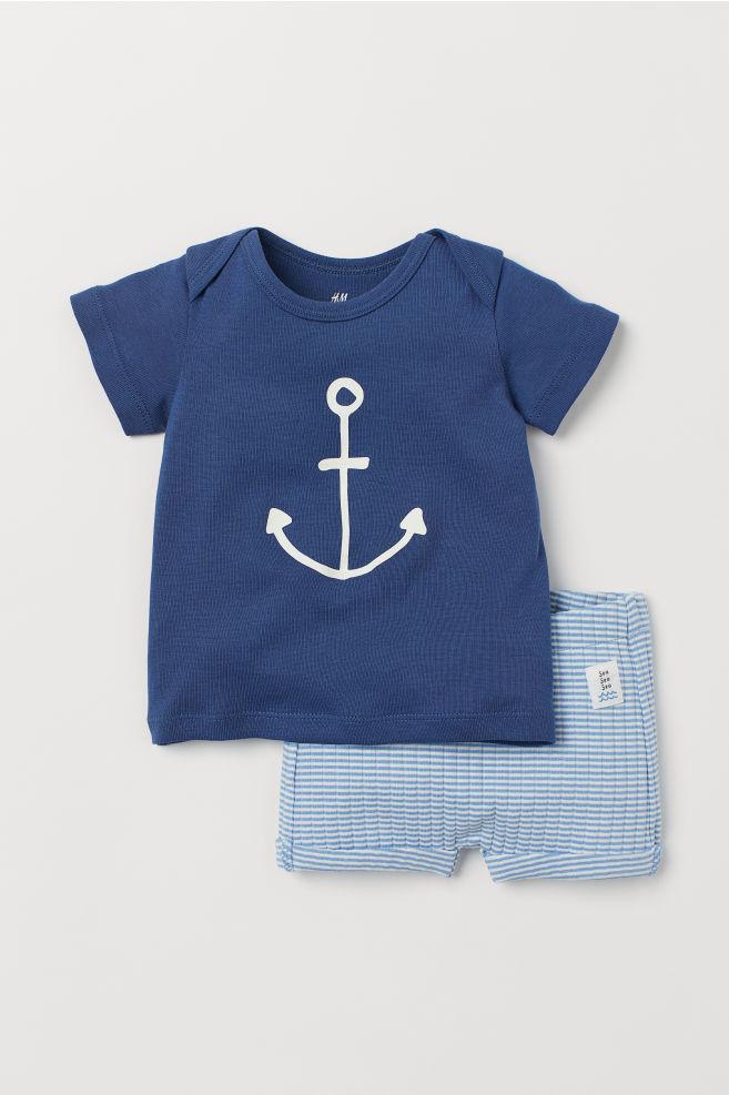 db96cda2d5f0df T-Shirt und Shorts - Dunkelblau Anker - Kids
