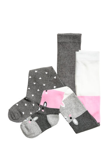 2-pack tights - Grey/Hearts - Kids | H&M