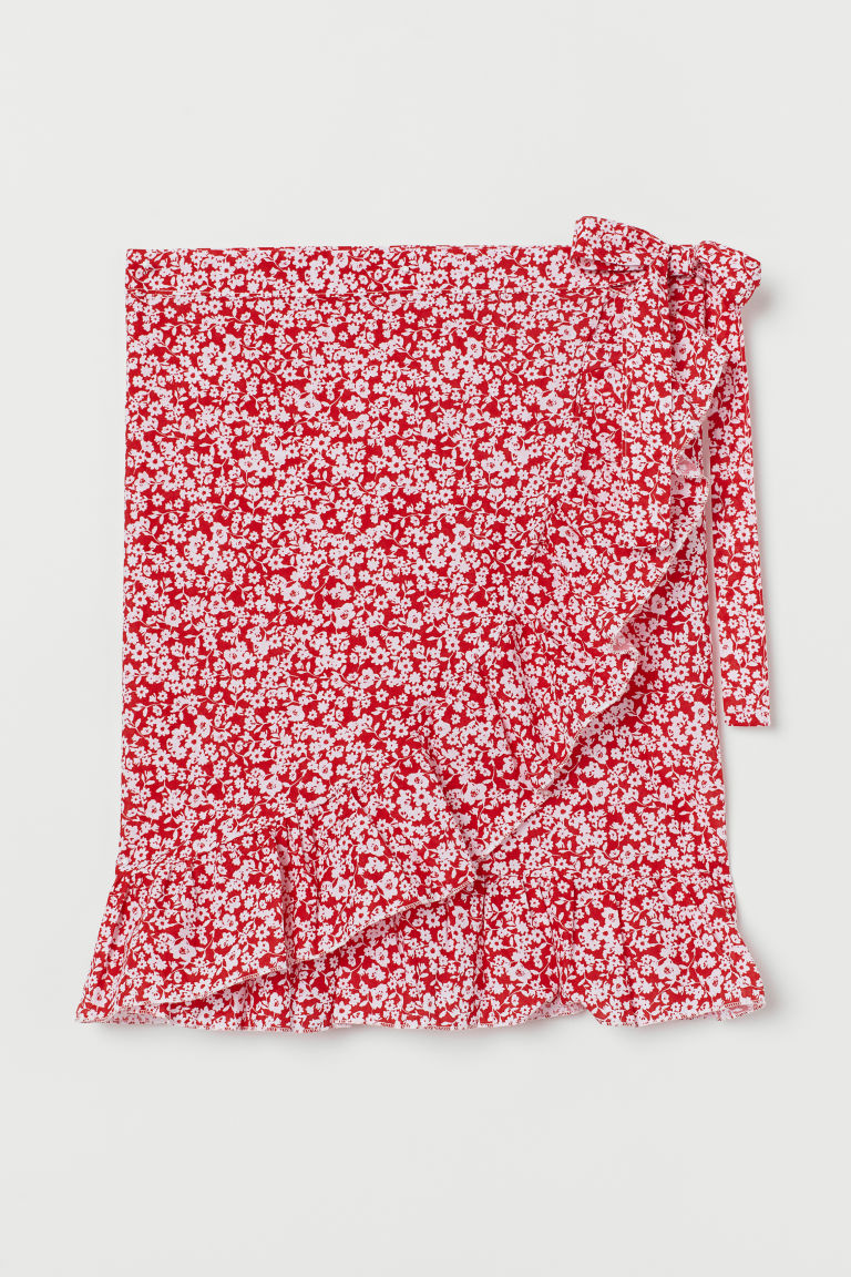 Short Ruffle-trimmed Sarong - Red/floral - Ladies | H&M CA