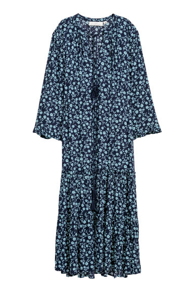Patterned dress - Dark blue/Floral -  | H&M CN