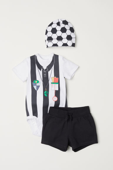 3-piece jersey set - Black and white/Referee - Kids | H&M CN