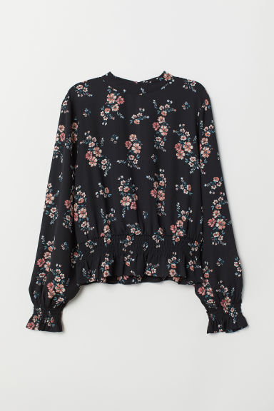 Blouse with Smocking - Black/floral - Ladies | H&M US