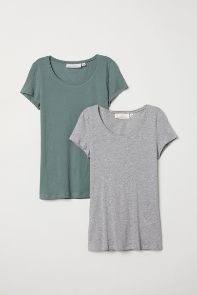 2-pack short-sleeved tops - Grey marl/Khaki green -  | H&M
