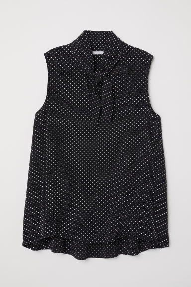 Spotted tie-front blouse - Black/Spotted - Ladies | H&M CN