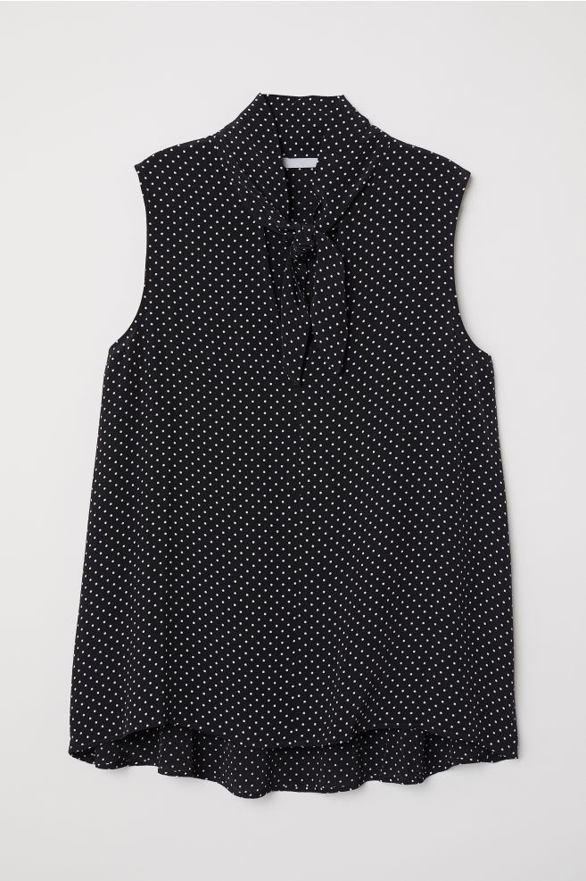 d991d51879d Dotted Tie-front Blouse - Black dotted - Ladies
