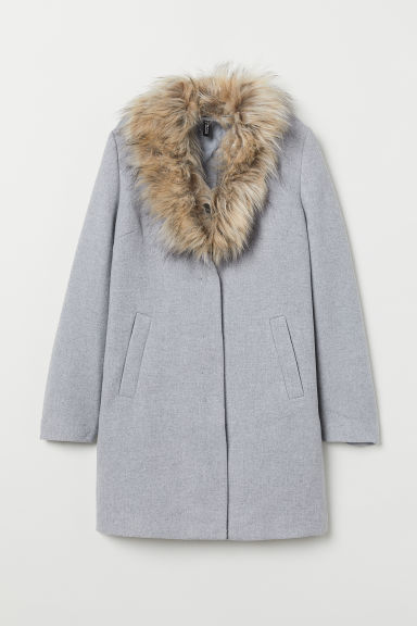 Coat with a faux fur collar - Light grey -  | H&M CN