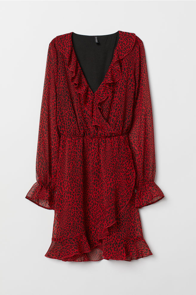dfbd4d401bc ... Wrap dress with flounces - Red Leopard print - Ladies