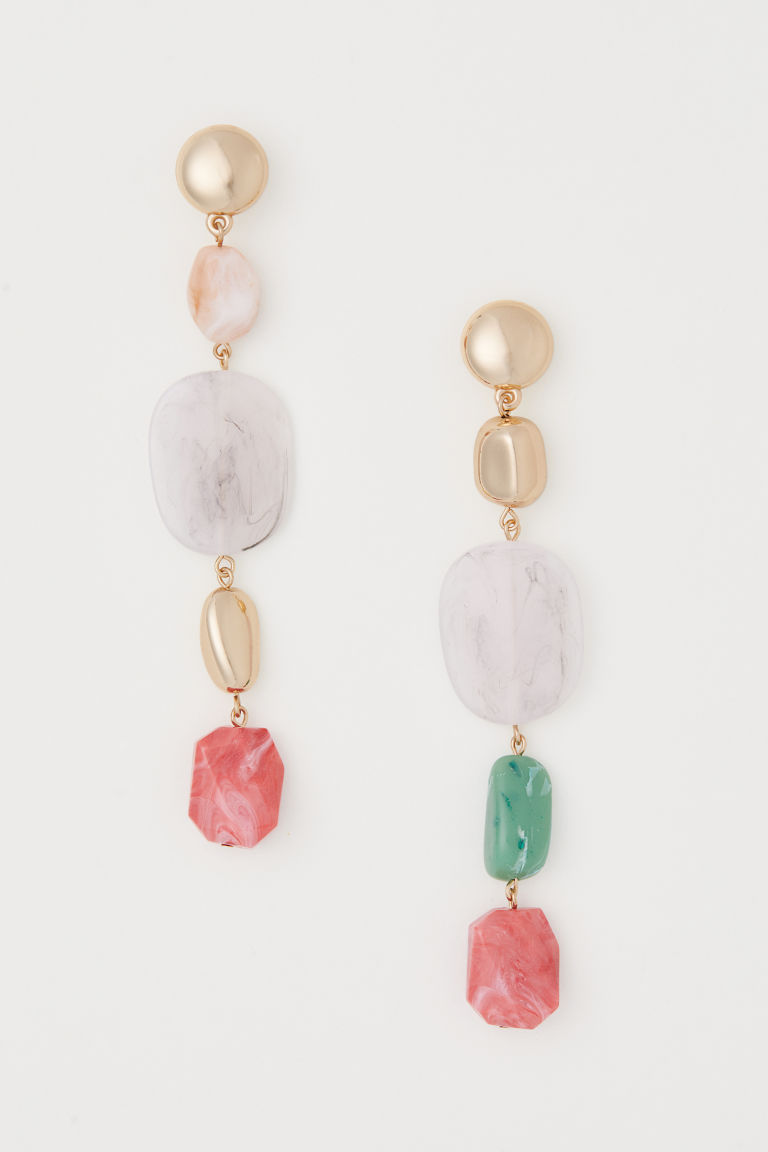 Long earrings - Gold-coloured/Multicoloured - Ladies | H&M CN