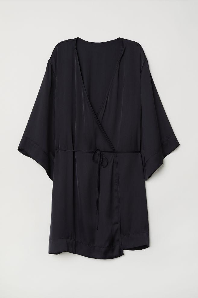 10ec947d262609 Satynowe kimono - Czarny - ONA | H&M ...