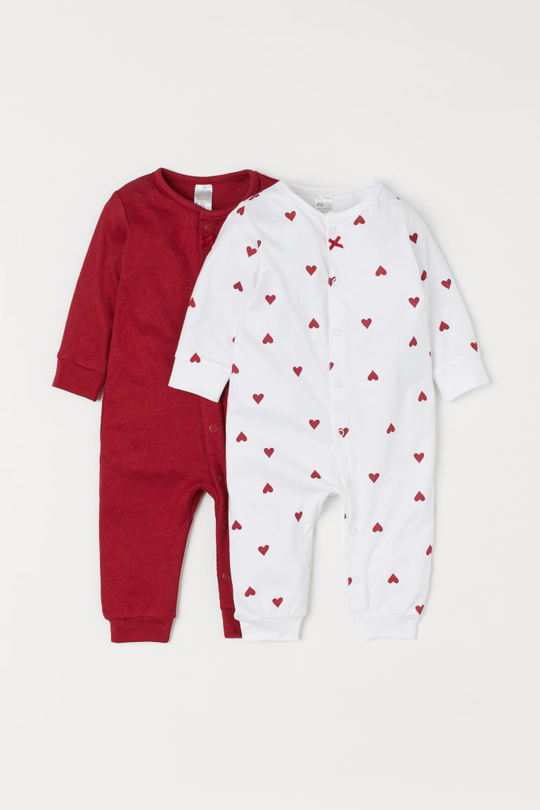 2-pack all-in-one pyjamas - Red/Hearts -  | H&M