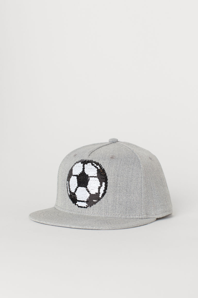 Cap with reversible sequins - Grey marl/Football - Kids | H&M