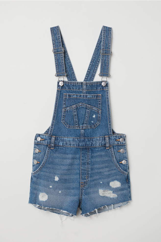 7e42788ca85 Denim dungaree shorts - Denim blue - Ladies