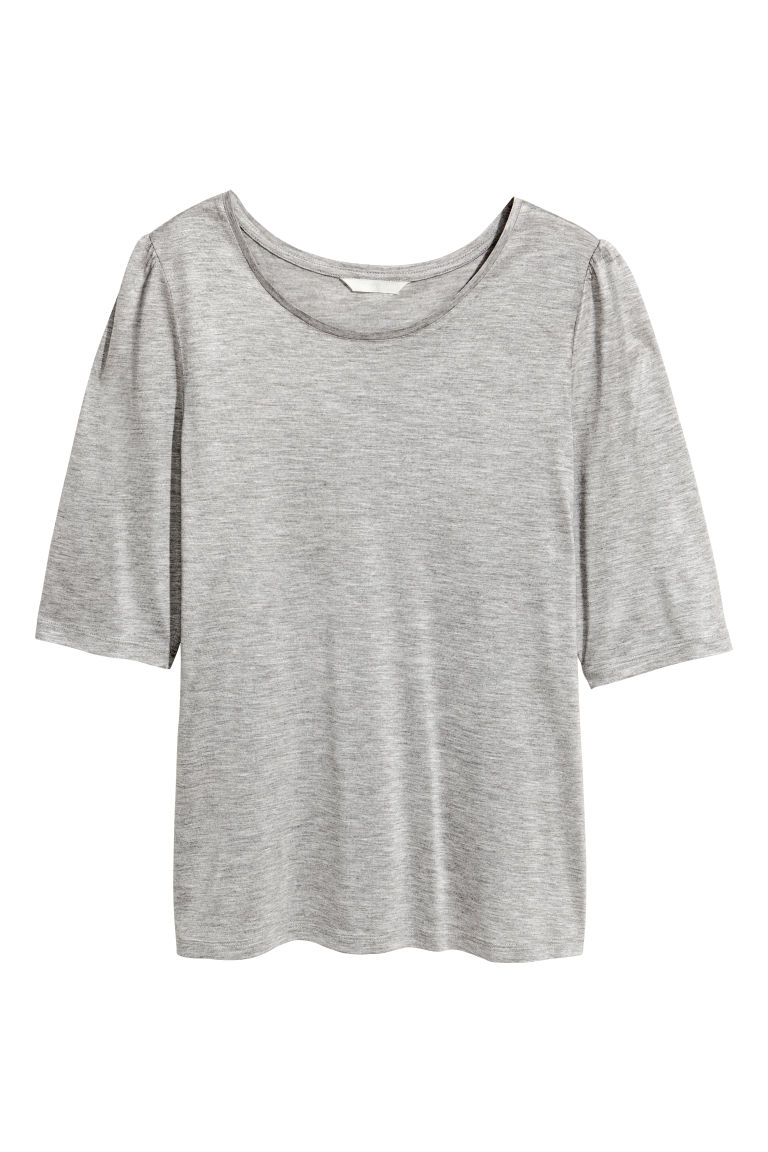 Jersey puff-sleeve top - Grey marl - Ladies | H&M CN