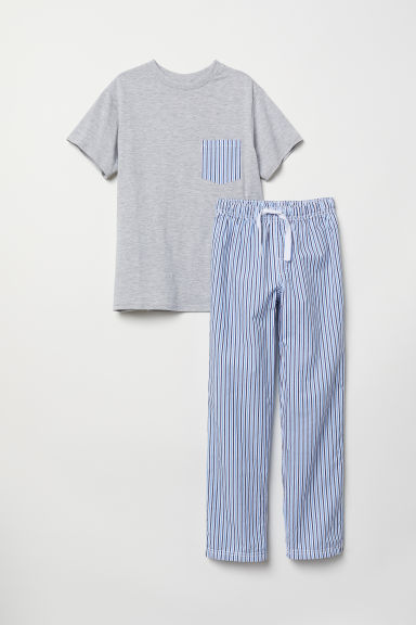 Cotton pyjamas - Light grey marl/Striped - Kids | H&M