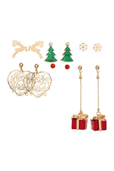6 pairs earrings - Red/Christmas - Ladies | H&M