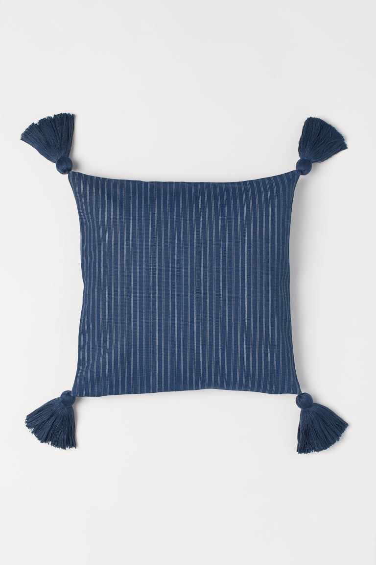 Tasselled cushion cover - Dark blue - Home All | H&M GB
