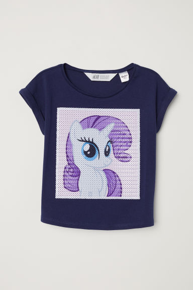 Reversible sequin T-shirt - Dark blue/My Little Pony - Kids | H&M