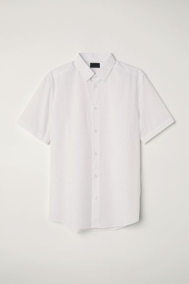 Poplin shirt Slim fit - White/Black spotted -  | H&M CN