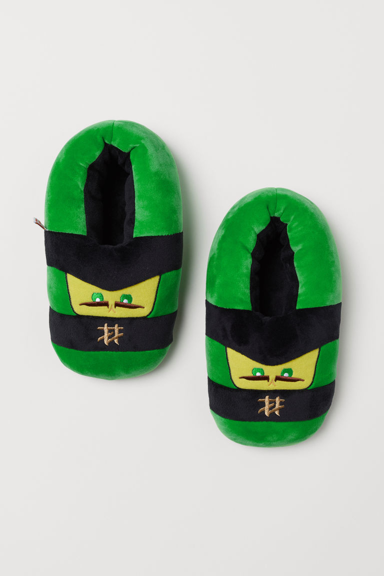 Soft slippers - Green/Lego - Kids | H&M