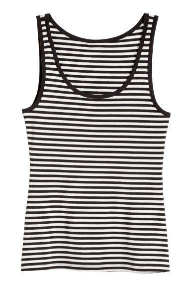 Jersey Tank Top - Black/white striped - Ladies | H&M US