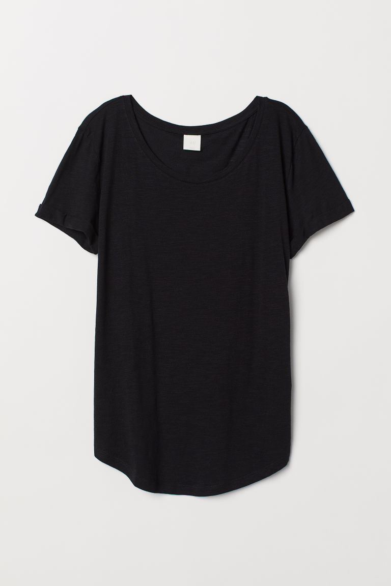 Slub jersey T-shirt - Black - Ladies | H&M