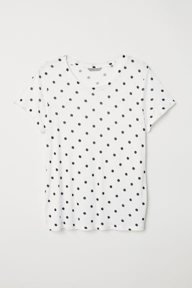 H&M+ Jersey top - White/Spotted - Ladies | H&M CN