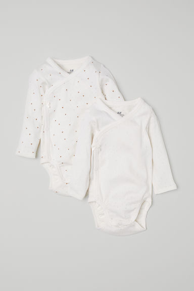 2-pack wrapover bodysuits - Natural white/Hearts -  | H&M