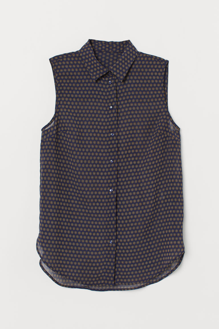 Sleeveless blouse - Dark blue/Spotted - Ladies | H&M IN