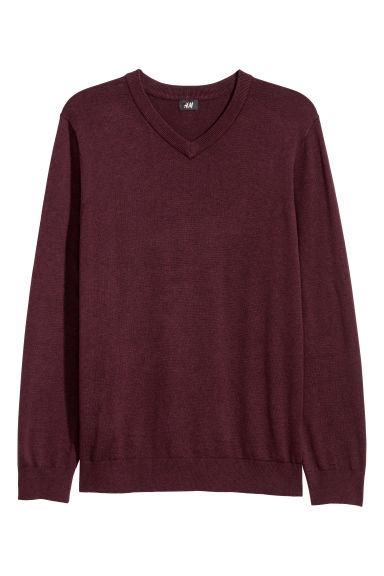 V-neck cotton jumper - Dark red marl -  | H&M