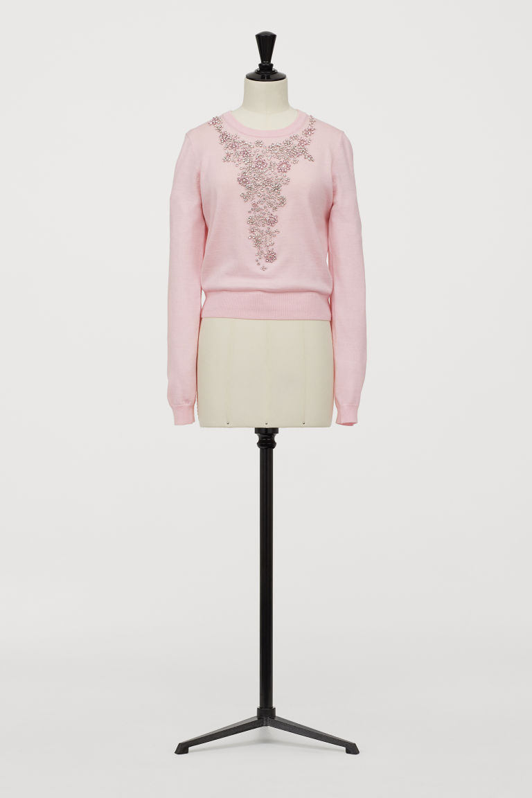 Jumper with sparkly stones - Light pink - Ladies | H&M