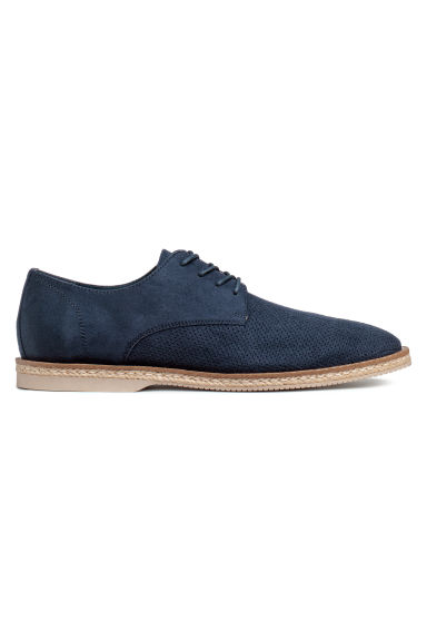 Hole-patterned derby shoes - Dark blue - Men | H&M