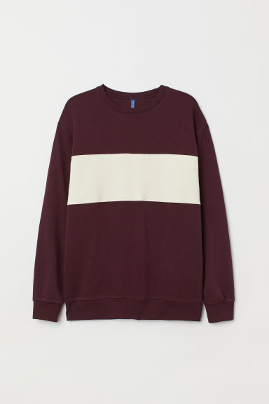 Block-coloured sweatshirt - Burgundy/White - Men | H&M CN