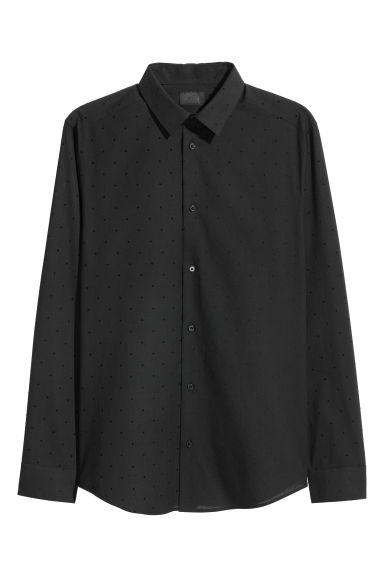 Spotted shirt Slim fit - Black - Men | H&M CN