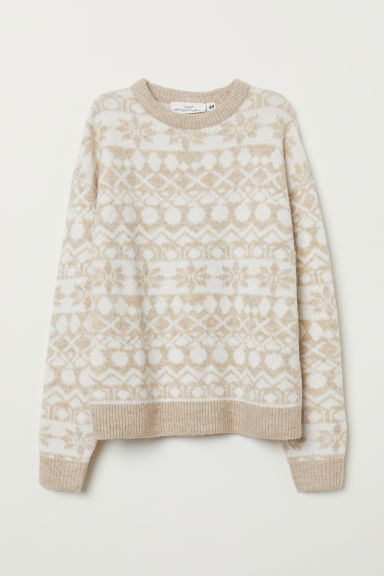 Jacquard-knit Sweater - Light beige - Ladies | H&M US