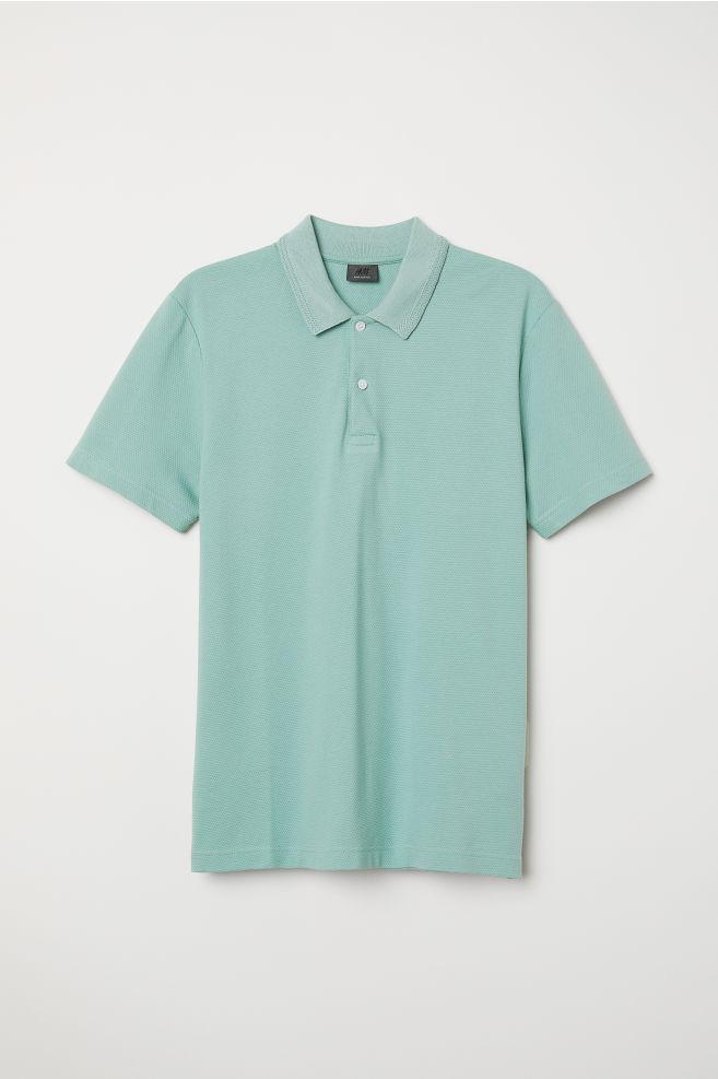 ad0f926c8 Premium Cotton Polo Shirt - Light green/textured - Men | H&M ...