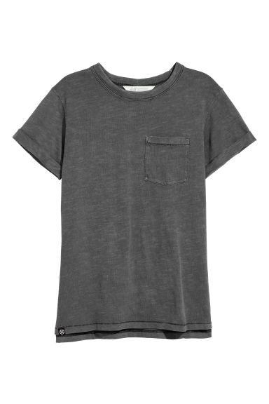 Slub jersey T-shirt - Dark grey - Kids | H&M CN