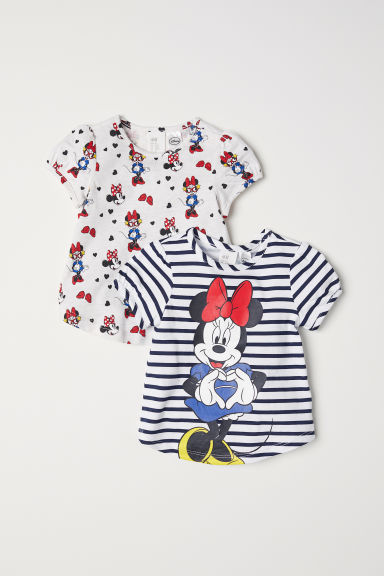 2-pack puff-sleeved tops - Light beige marl/Minnie Mouse - Kids | H&M CN