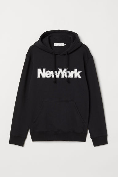 Hooded top with a motif - Black/New York - Men | H&M
