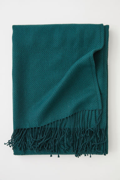 Jacquard-weave blanket - Dark green - Home All | H&M CN
