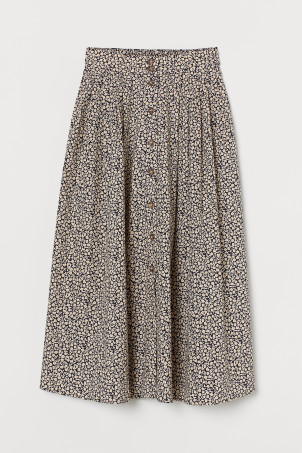 Button-front cotton skirt