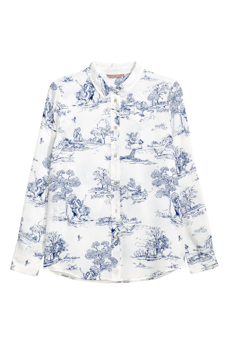 H&M+ Long-sleeved shirt - White/Patterned - Ladies | H&M CN