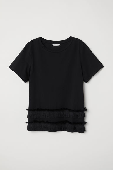Top in jersey con frange - Nero - DONNA | H&M IT