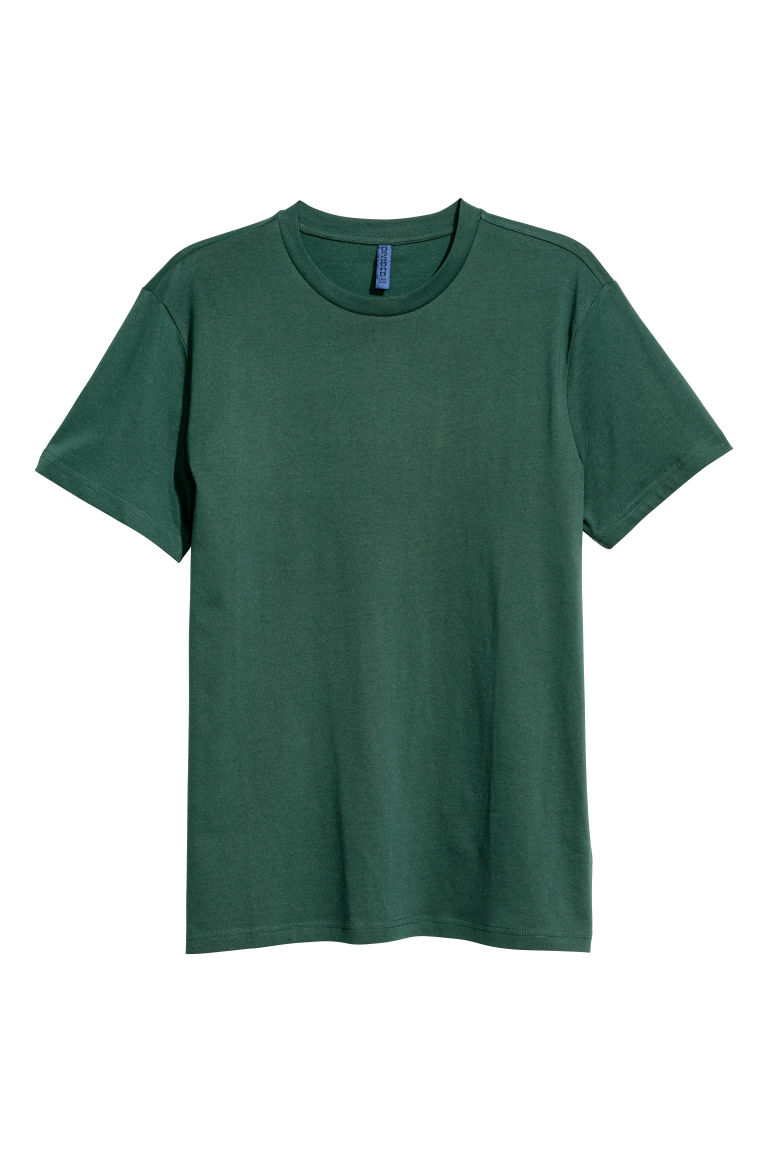 Round-necked T-shirt - Dark green - Men | H&M