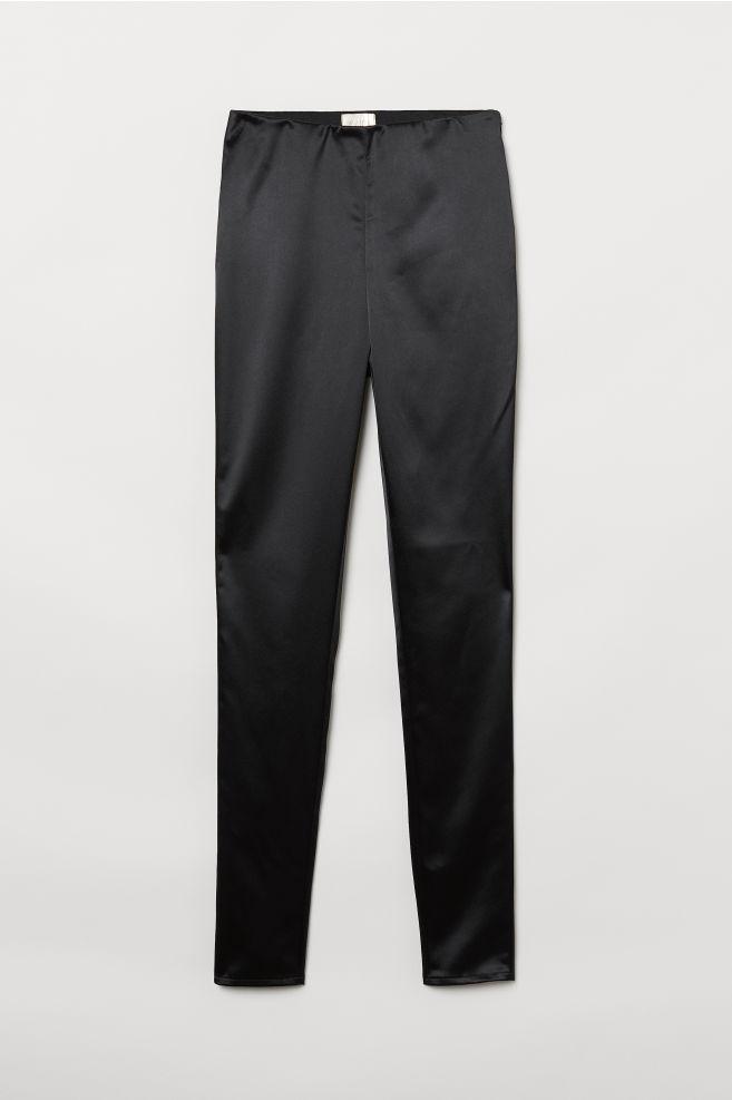 15601cdb59 High-waist Pants - Black/satin - Ladies | H&M ...