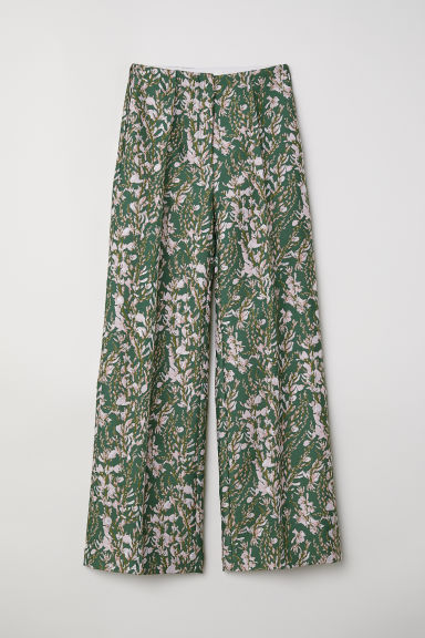 Jacquard-patterned trousers - Green/Pink floral - Ladies | H&M CN