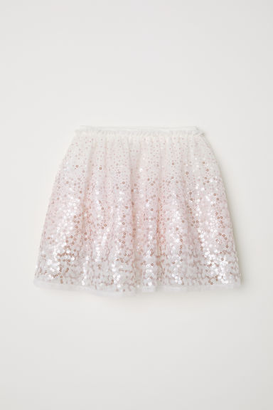 Tulle skirt with sequins - White - Kids | H&M CN